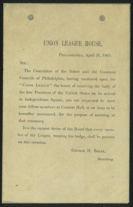 Union League of Philadelphia Funeral Invitation Letter