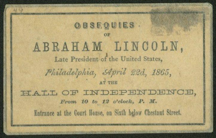 Union League of Philadelphia Funeral Invitation Ticket