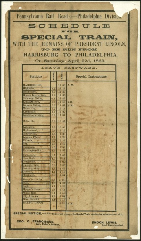 Pennsylvania Rail Road - Schedule for Funeral Train From Harrisburg to Philadelphia