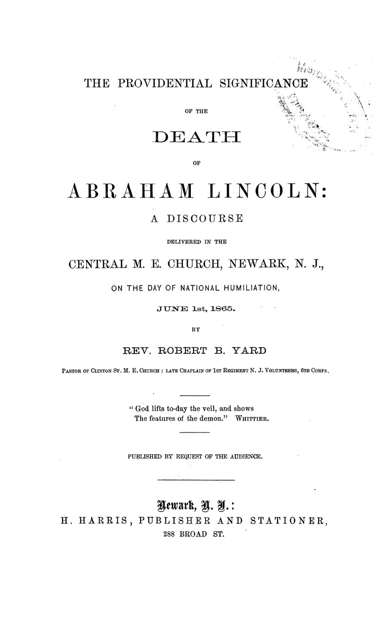 The Providential Significance of the Death of Abraham Lincoln