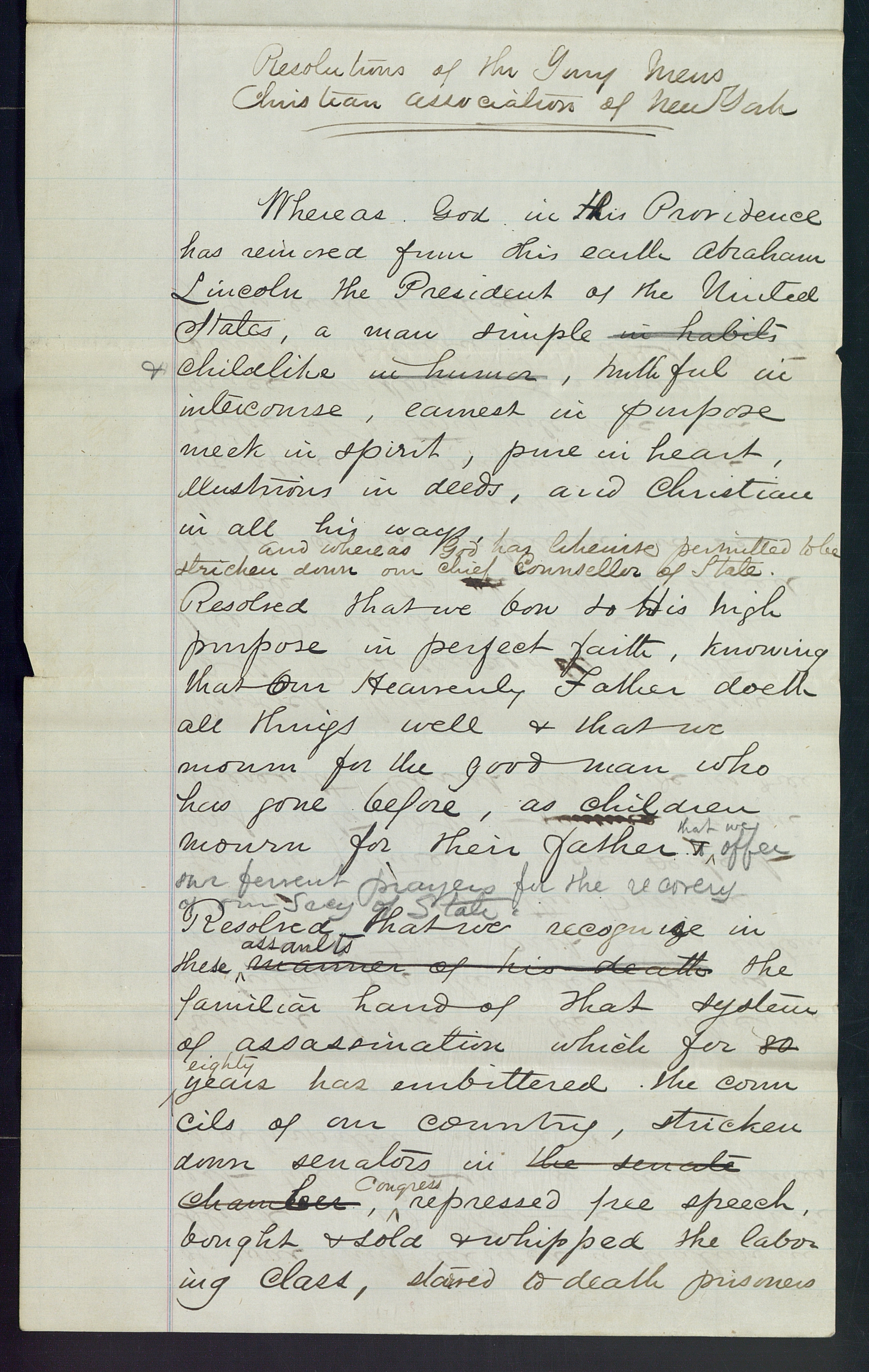 Resolutions of the YMCA on the Death of Abraham Lincoln